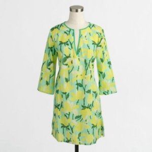 J CREW Green Yellow Floral Tissue Tunic Size M
